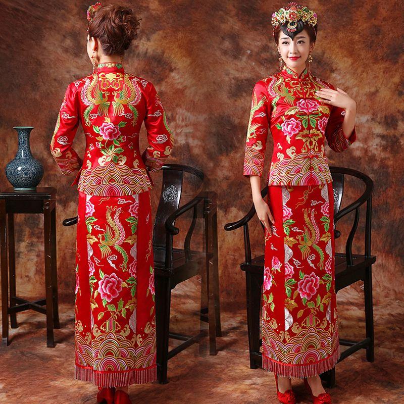 invitation to wedding ukrainian textiles and traditions%0A Fuchsia floral embroidery wedding KWA QUN Chinese dress  u     Modern Qipao