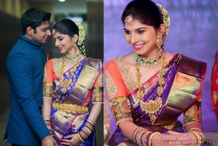 Bride In Purple Wedding Saree South Indian