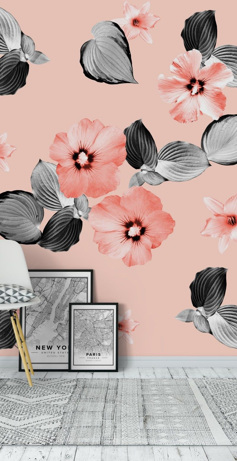 Living Coral Floral Dream 2 Wall Mural Wall Murals Floral