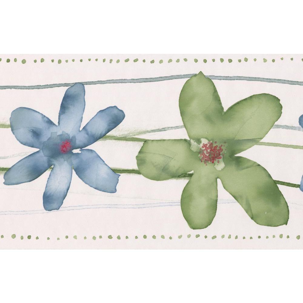 Norwall Green Cerulean Blue Flowers Bathroom Floral Prepasted Wallpaper Border Ct78167 Blueflowerwa Wallpaper Border Prepasted Wallpaper Blue Flower Wallpaper