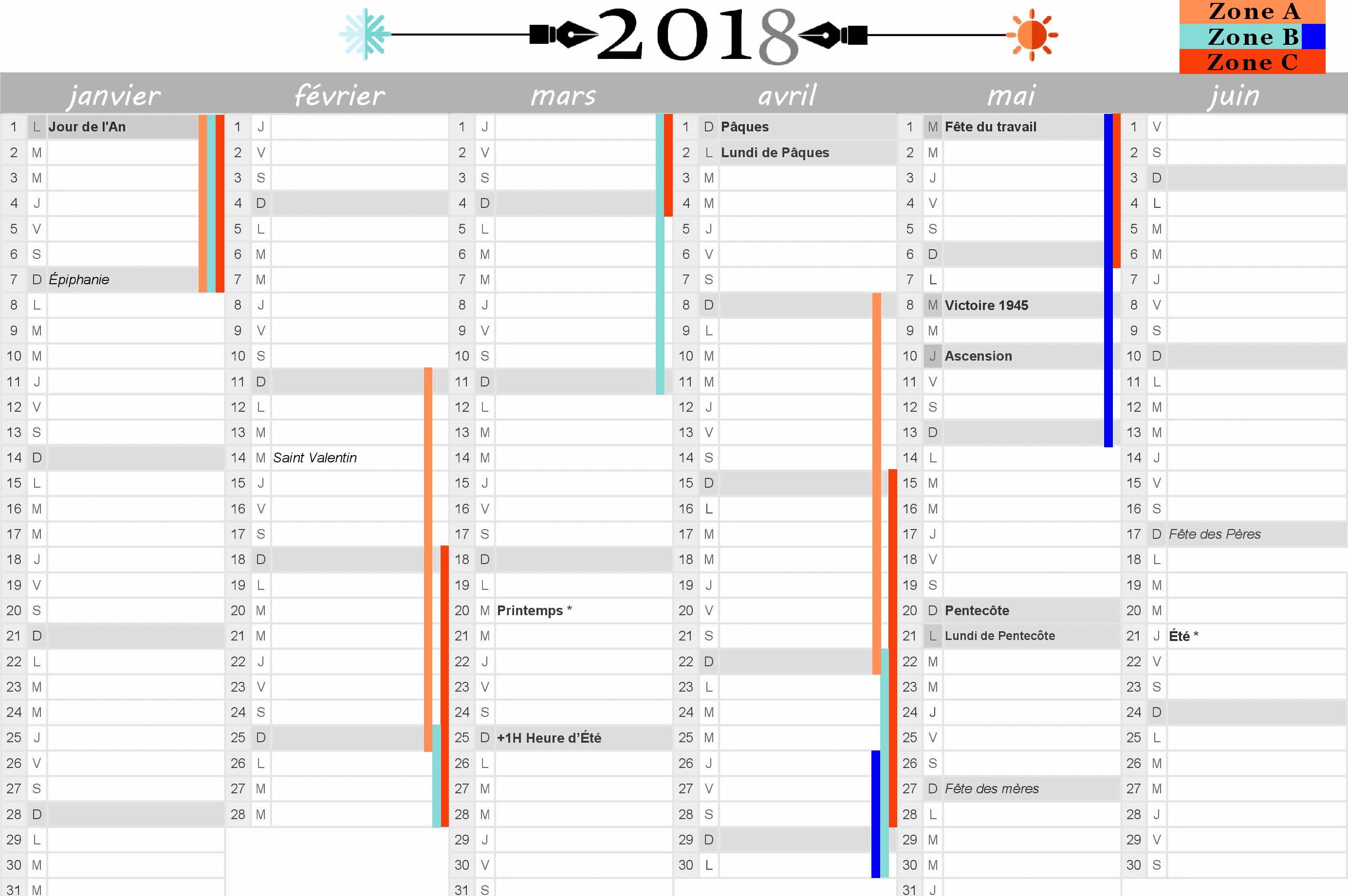 Calendrier 2018 Vacances Scolaires Et Jours Fériés Inclus