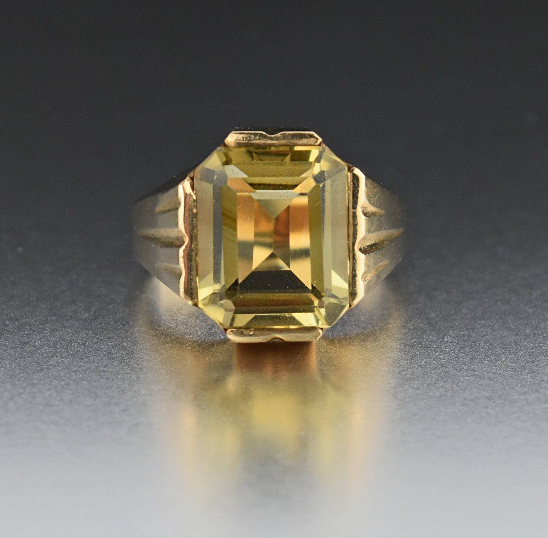 Vintage Art Deco 10k Gold Lemon Citrine Ring 1920s Art Deco Jewelry Vintage Art Deco Deco Jewelry