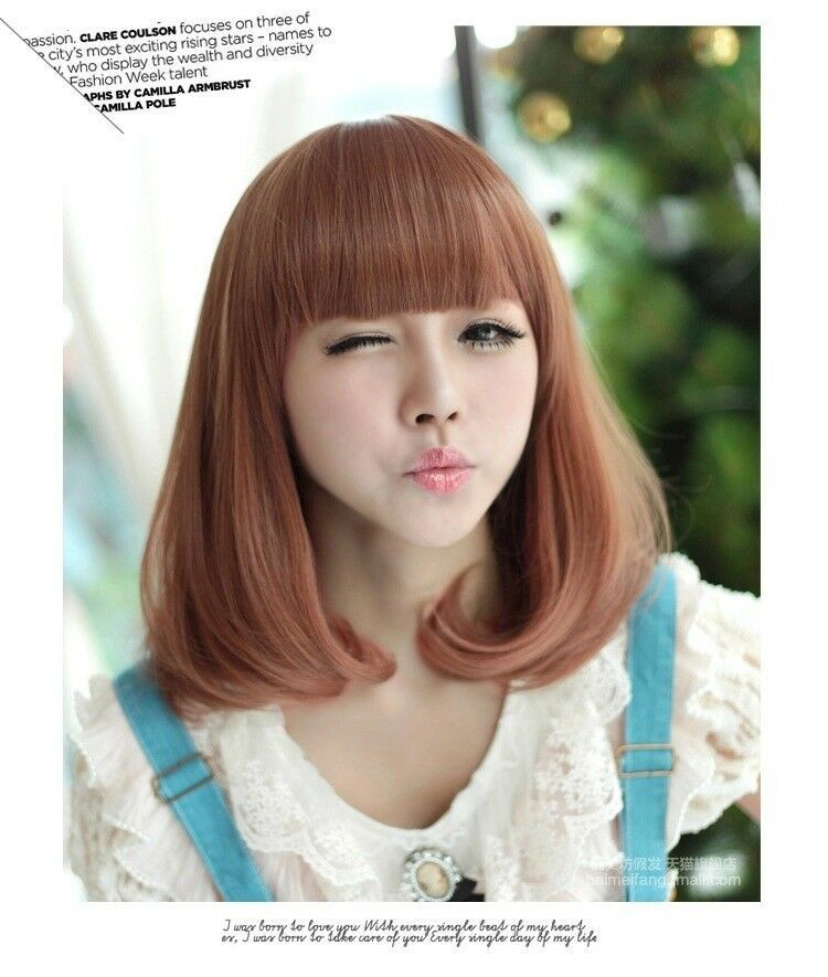 New Bob Style Wig Women s Short Straight Full Hair Wigs Cosplay Party Neat  Bang apos 777337c4a
