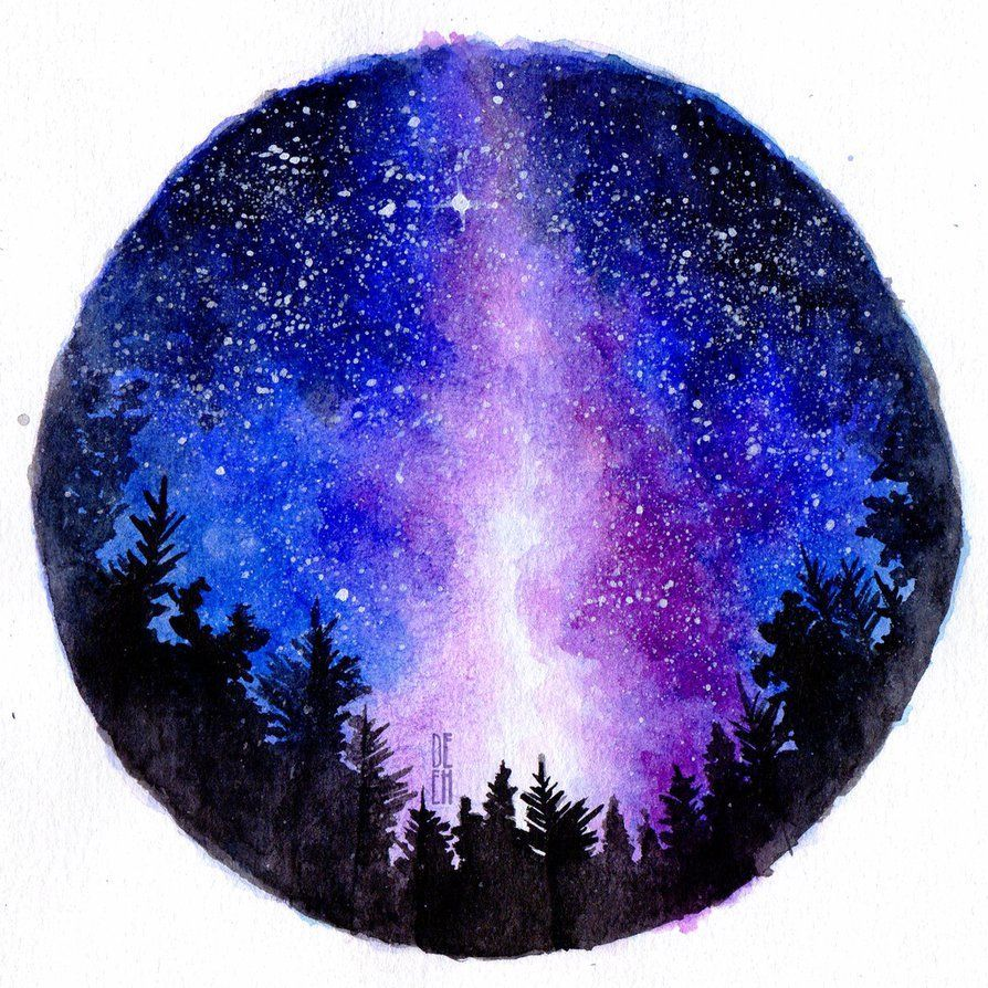 This Will Be A Simple Tutorial On Making Your Own Galaxy Or Starry Painting Here Is Also The Tutorial Video Just Galaxy Drawings Watercolor Galaxy Galaxy Art