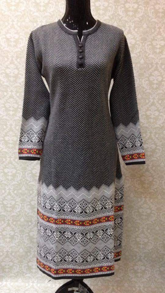 3385da2d5 Winter Special Woolen Kurti-Gray White