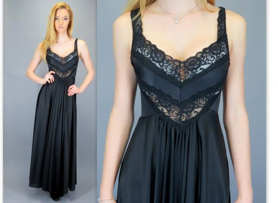 Vintage 80s Black Sheer Lace Nightgown Slip Dress Long Maxi Gown ...