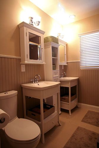 Two pedestal sinks. I like this style, but I would probably have a ...