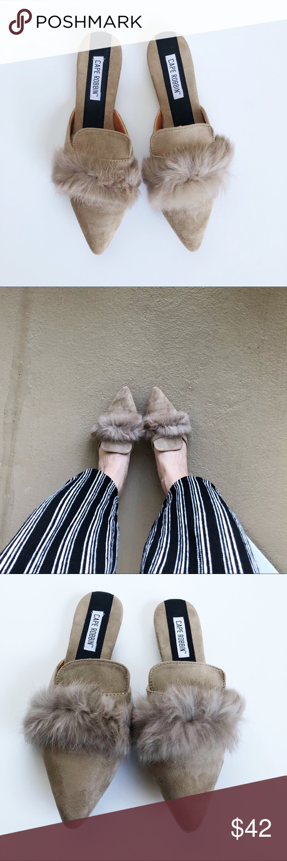 🆕Taupe pointed mule Pointed mule flat. Fur detail across toe. Faux suede material. Neutral taupe color. Perfect Fall staple. Sizing fits true. Cape Robbin Shoes Mules & Clogs