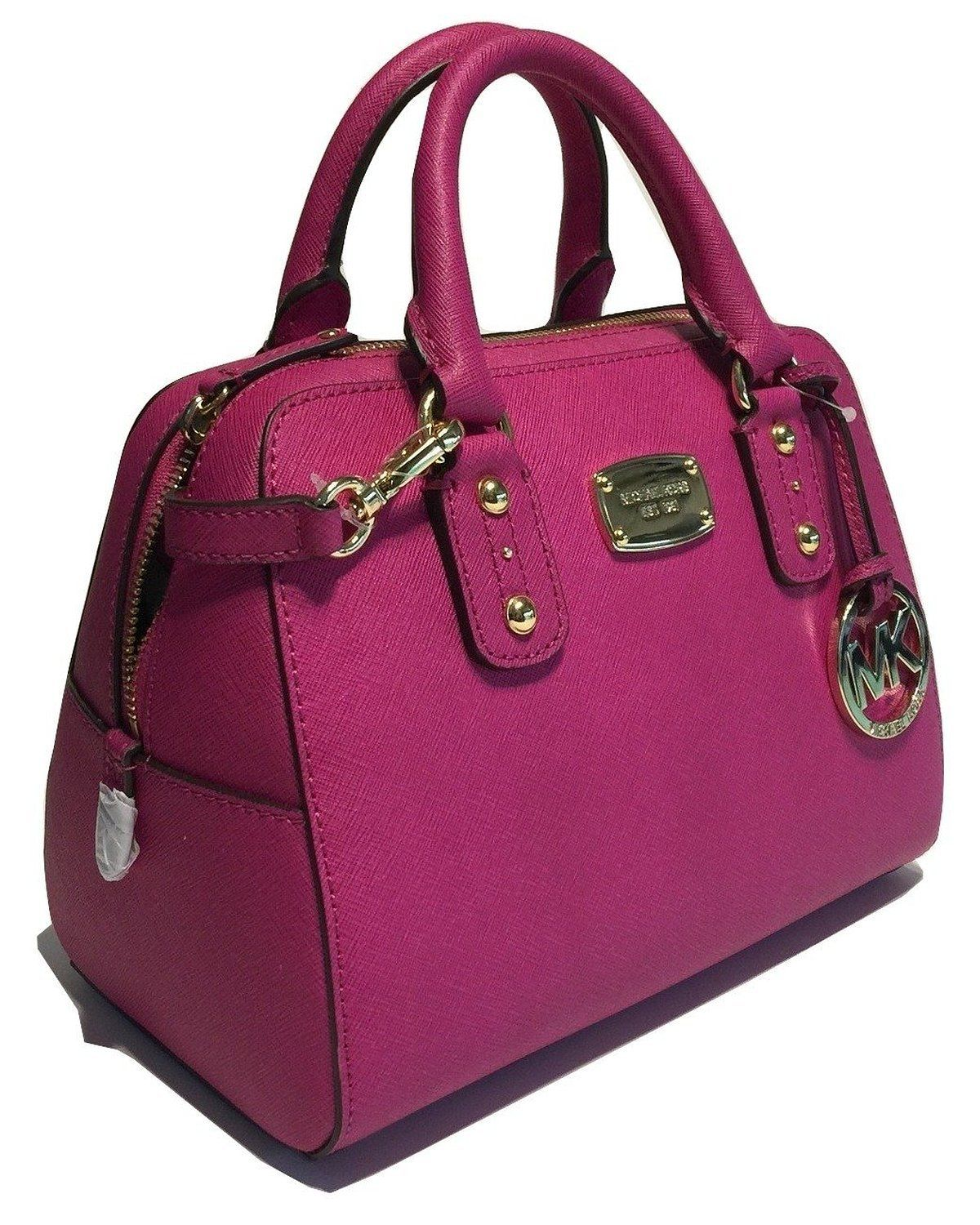 Michael Kors Small Satchel Saffiano Leather (Fuschia): Handbags ...