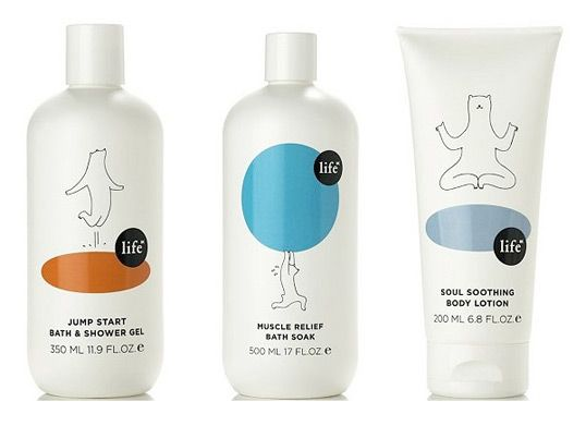 Playful and fun packaging for Life NK health and beauty products.