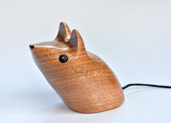 Mouse Wood Carving Sculptures Animal by CreativeQuiltsAndEtc