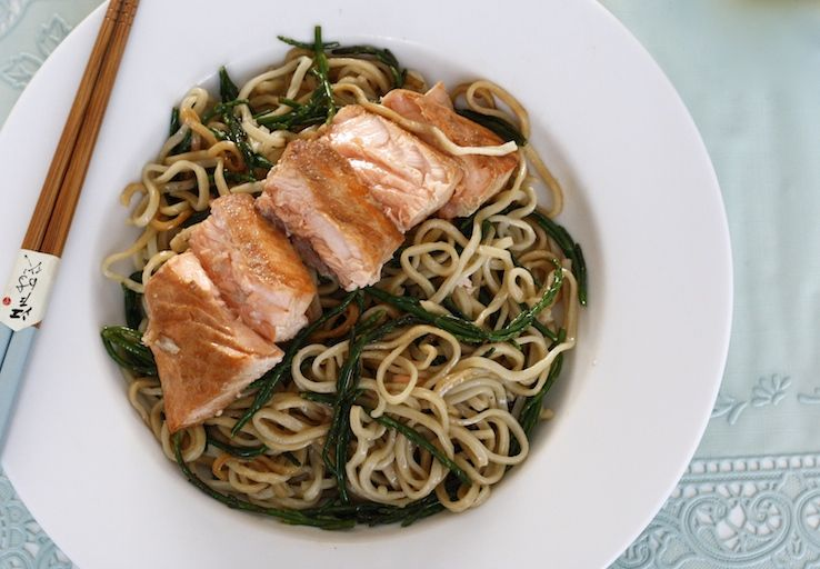 Photo of Salmon and salicorn noodles – Chickslove food