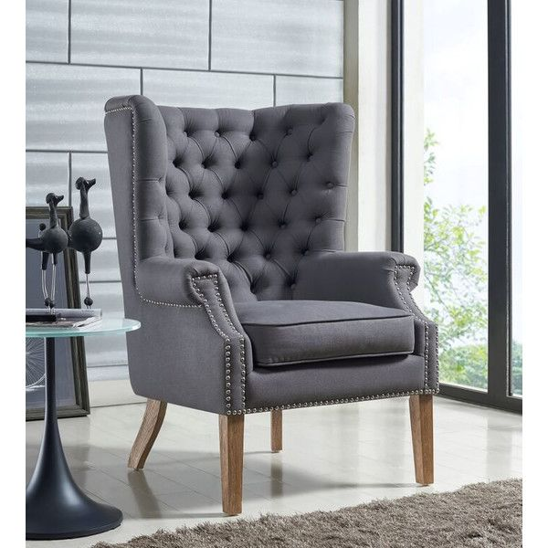 Tufted Gray Arm Chair With Nail Head Trim Restoration Hardware Style Furniture For Less