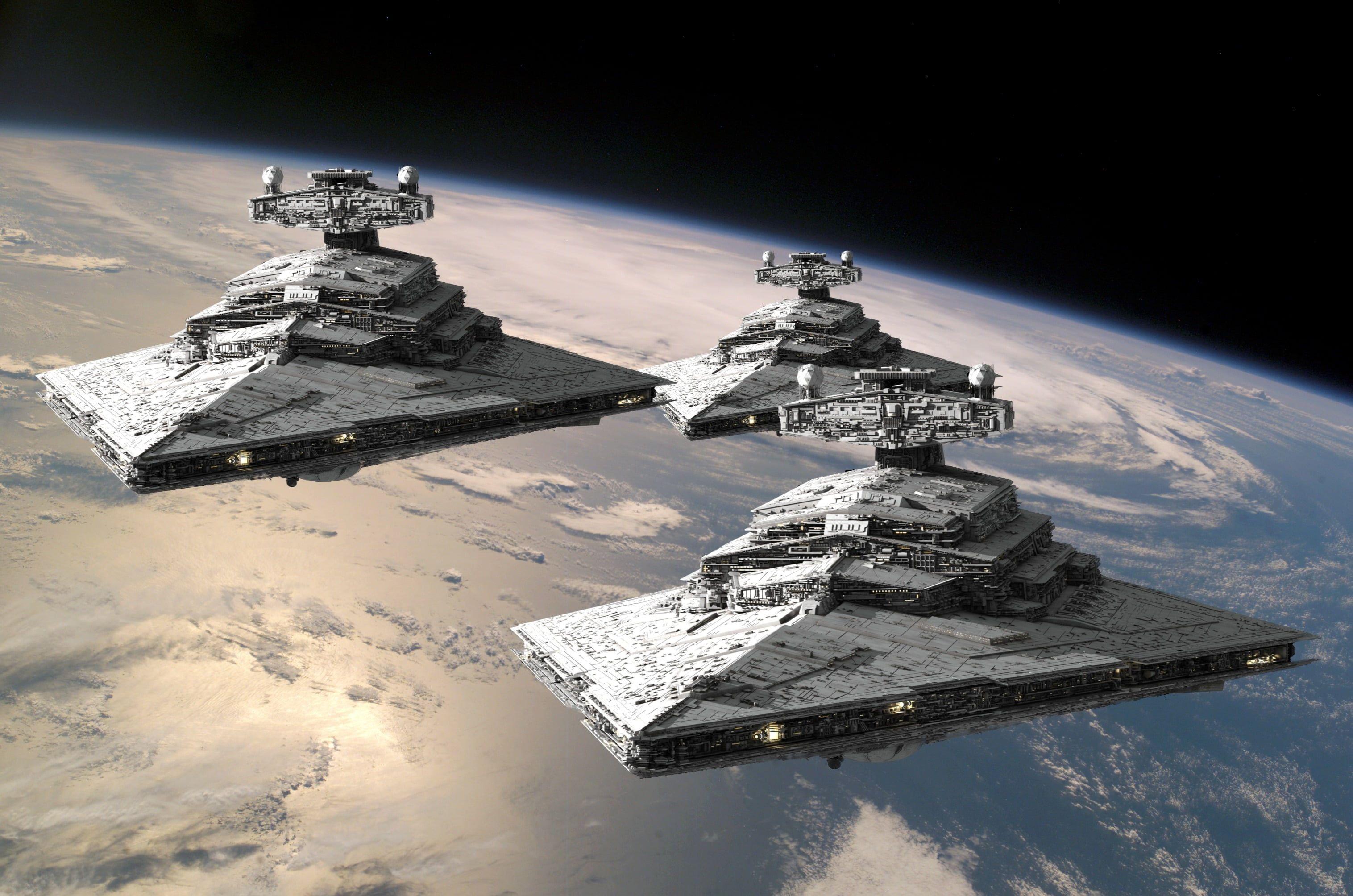 Three Gray Space Aircrafts Star Wars Star Destroyer 2k Wallpaper Hdwallpaper Desktop Star Wars Wallpaper Star Destroyer Wallpaper Star Destroyer