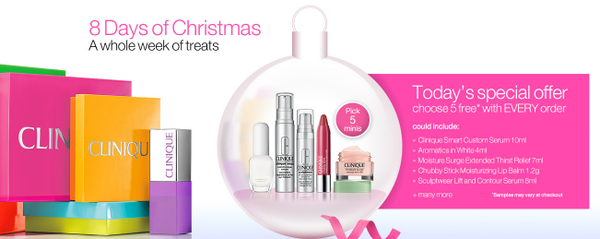 5 FREE deluxe samples with ANY order at Clinique with free delivery and no minimum spend