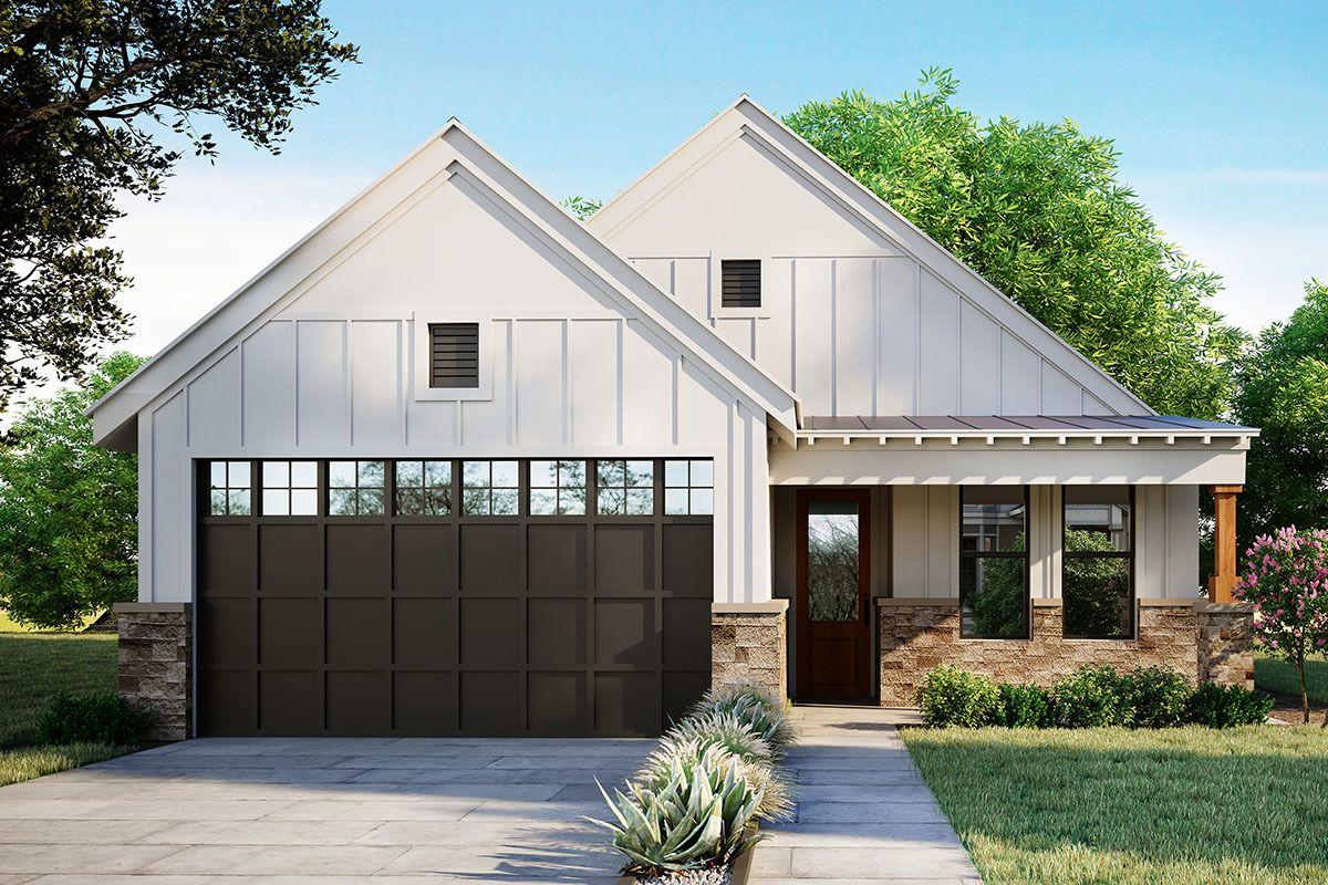 Plan 430054LY: Exclusive Modern Farmhouse Plan with Covered Patio #smallmodernfarmhouseplans
