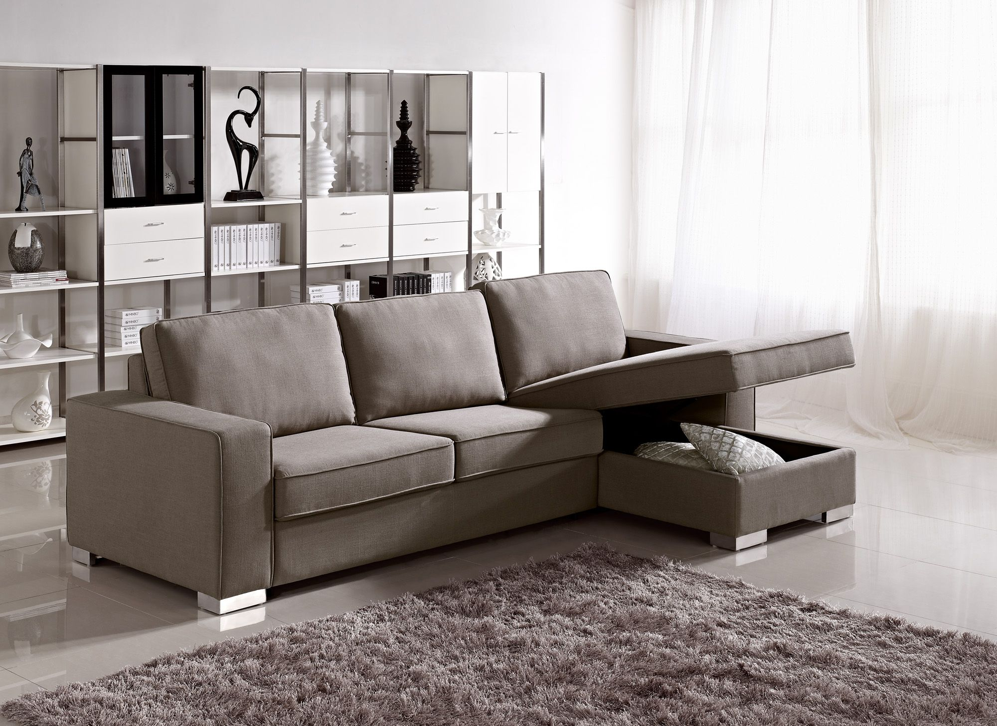 Apartment Size Grey Fabric Storage Sectional With Easy Pull Out Bed Houston Texas Prime Clic Design Inc Italian Modern Furniture Luxury Designer