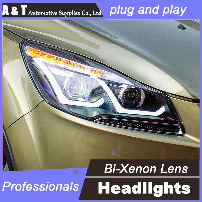 Car Styling For Ford Kuga Headlights U Angel Eyes Drl 2013 2015