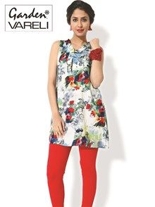 Buy Garden of Art #womenskurti at Rs.1067/-  Boost your basic with this artsy, elegant cotton-satin kurti! Floral bouquets in red, orange green and blue suspend themselves on a grey and white ground. Pleated frills dress up the classic v-neckline. Get this artsy wonder NOW!