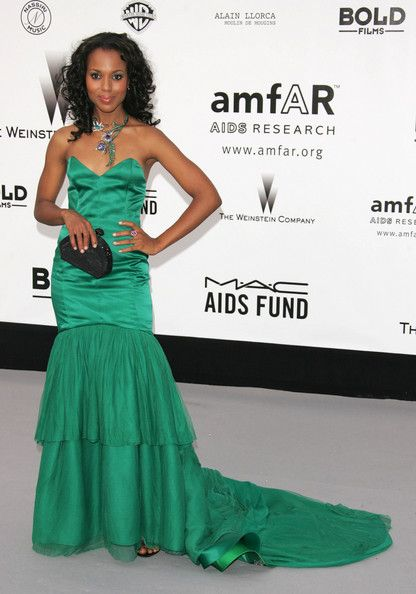 Kerry Washington Evening Dress  Kerry Washington was gorgeous in green at the amfAR Gala at Cannes.
