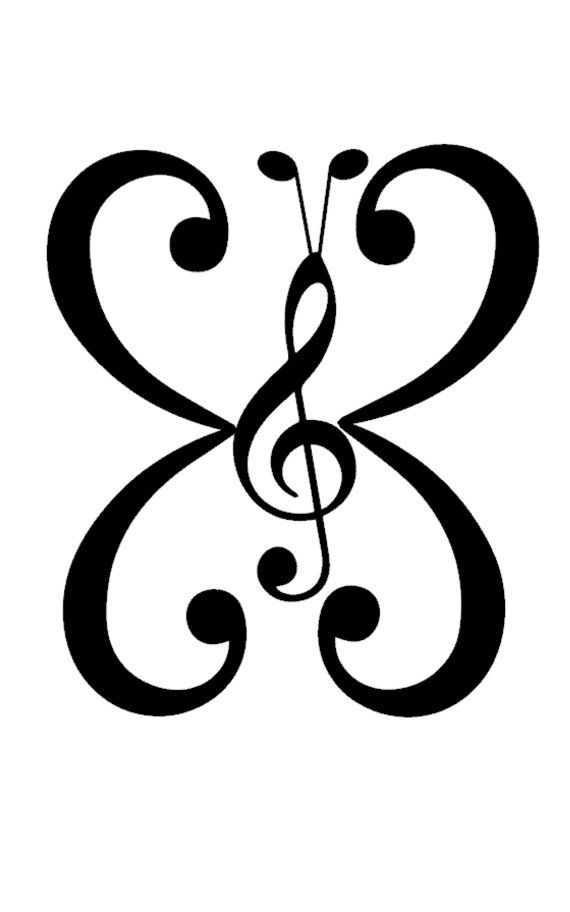 Musical Butterfly Vinyl Car Decal Claves Musicales Pinterest