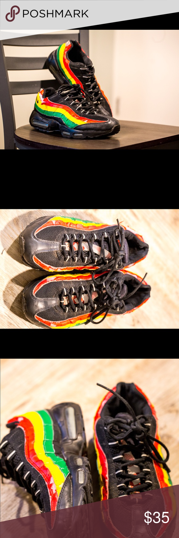 the latest 06f2a 60142 RARE Nike Air Max 95 Jamaica Jams Very comfortable and iconic Air Maxes!  Also, the Rasta colorway is completely unique! Decent condition after wear  n tear ...