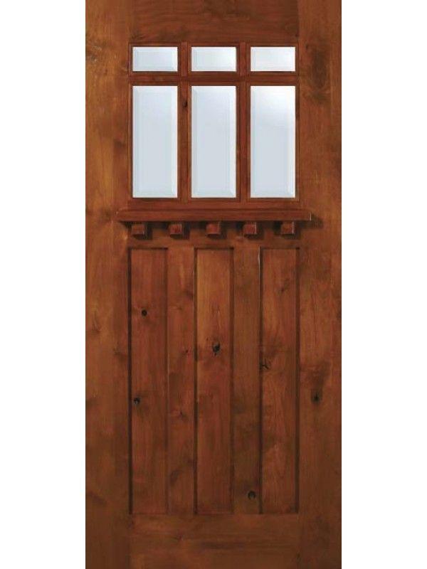 Exterior Single Door Slab Single Door 80 Wood Alder Craftsman 3 Panel 6 Lite Tdl Glass 1 By Glassc Craftsman Exterior Door Exterior Door Styles Exterior Doors