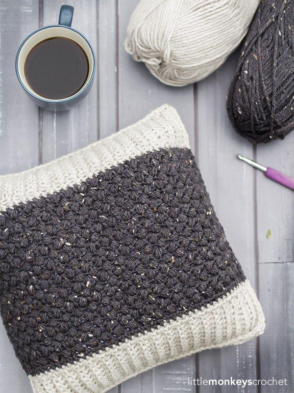 Bean Stitch Accent Pillow | Little Monkeys Crochet | Crochet ...