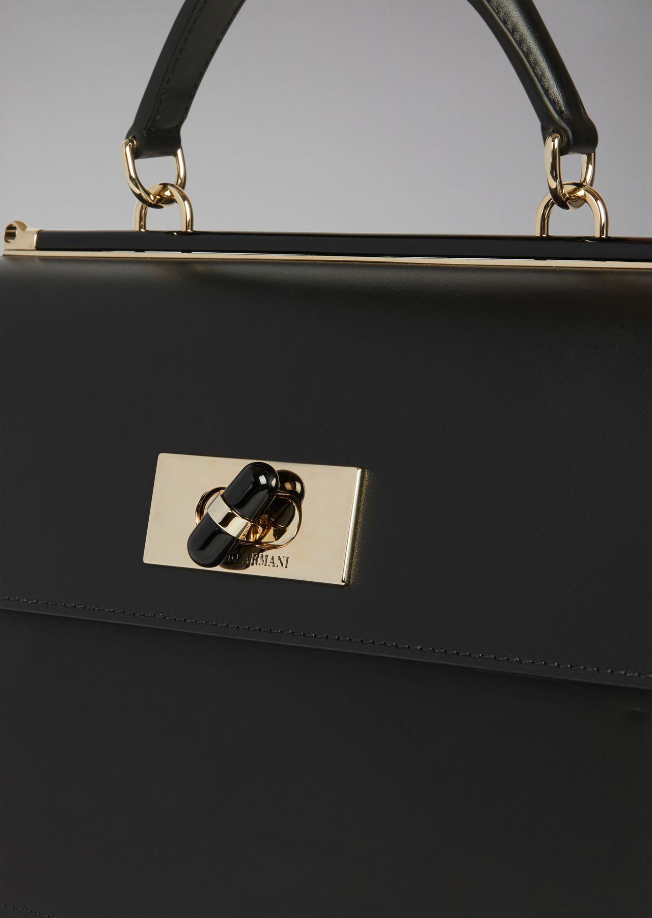 6c3a8d0bb1 Giorgio Armani Borgonuovo 11 Smooth Leather Handbag With Plexiglass ...
