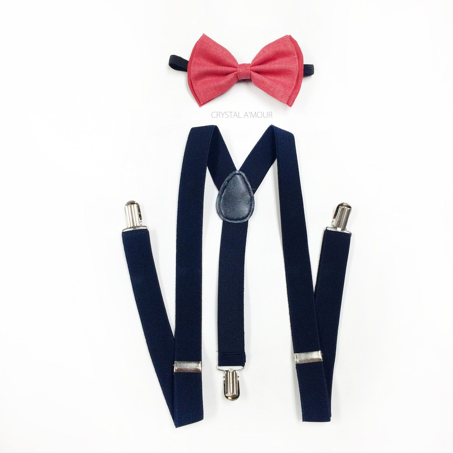 Color Coral Bow Tie And Navy Blue Suspenders Matching Set