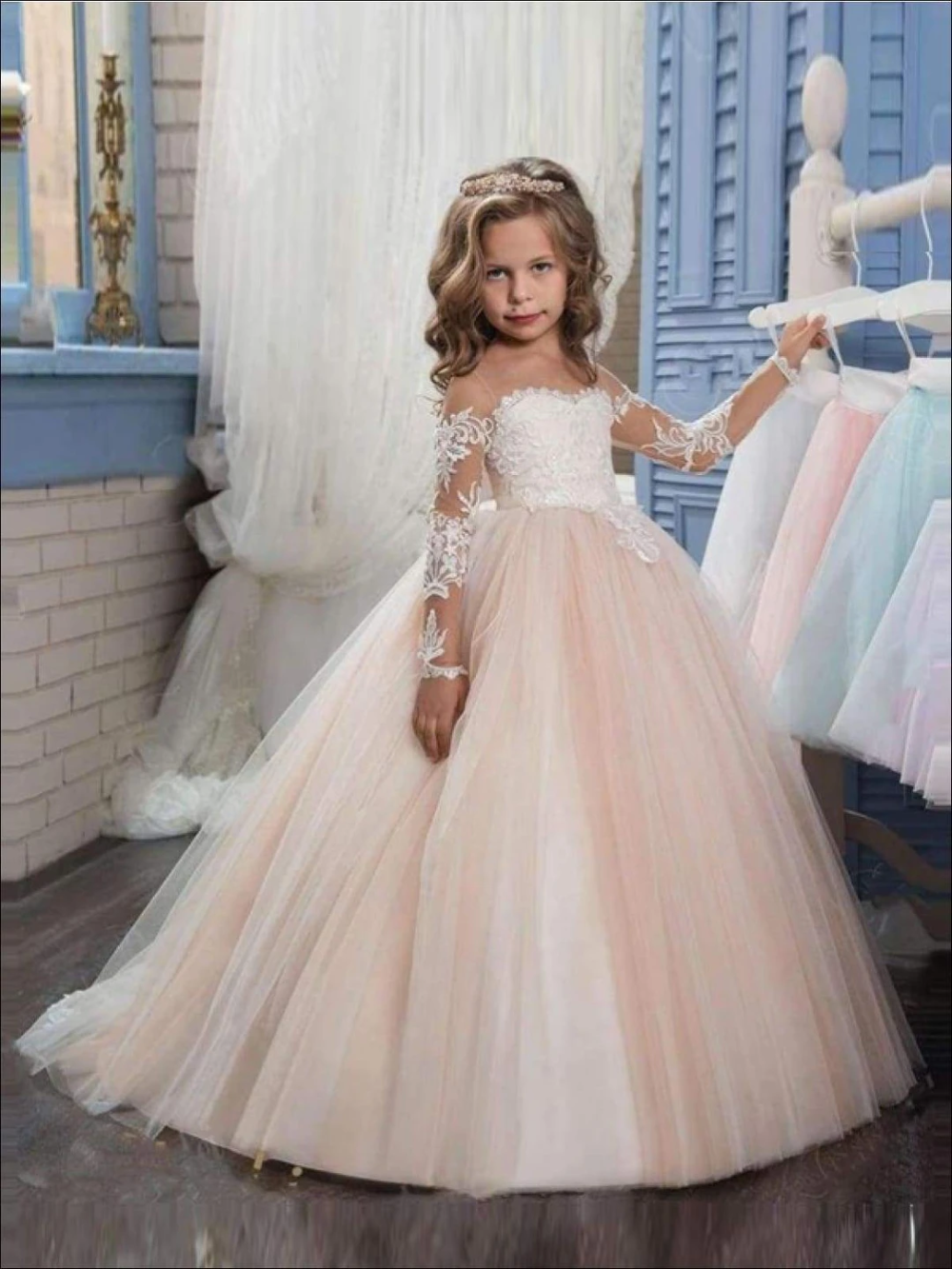 Lace Flower Girl Dress Birthday Girl Dress tutu Dress with Long Sleeves Floor Length Wedding Girl Dress Tulle Flower Girl Dress