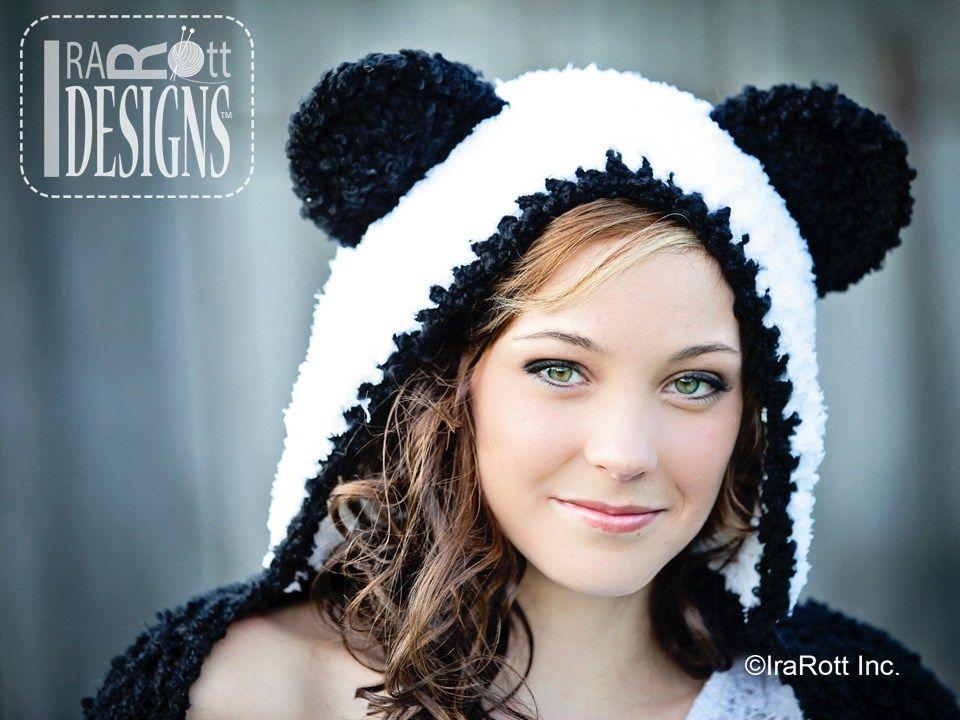 Panda Hat Scoodie with Paws Crochet Pattern by IraRott   Amigurumi e ...