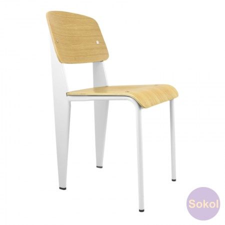 Replica Jean Prouve Standard Chair - Oak Veneer (white) | sokol | $129