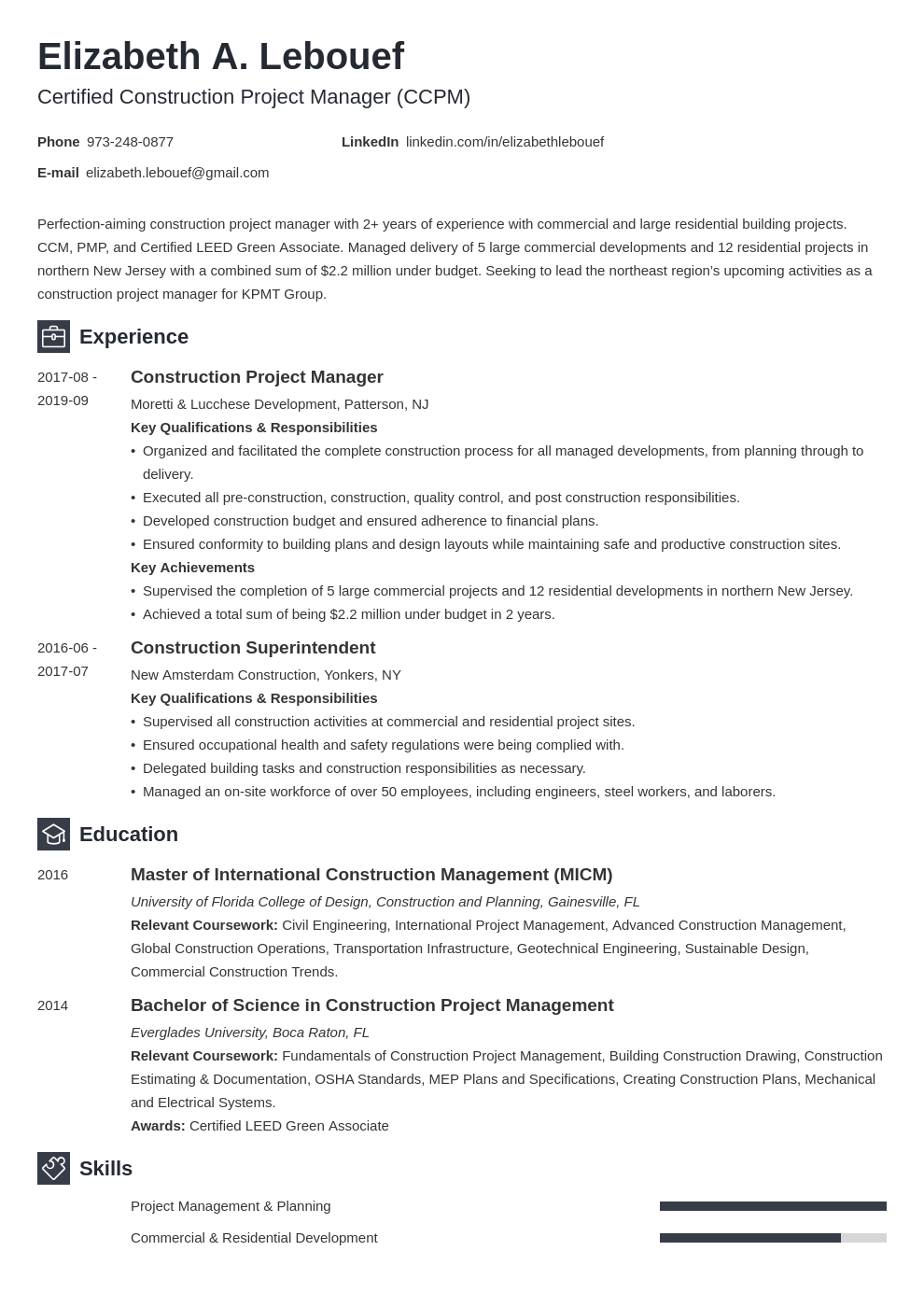 Construction Project Manager Resume Example Template Newcast Project Manager Resume Manager Resume Resume Examples