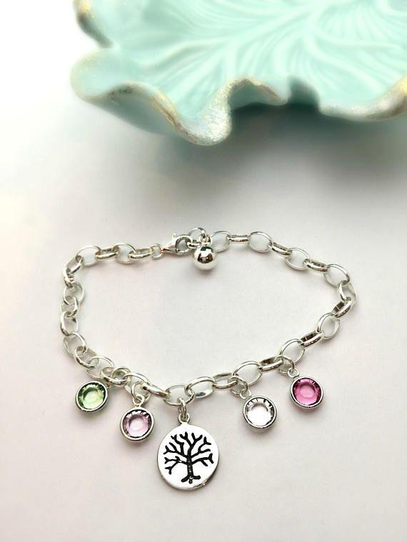 Sterling Silver Family Tree Birthstone Bracelet Gift For Mom