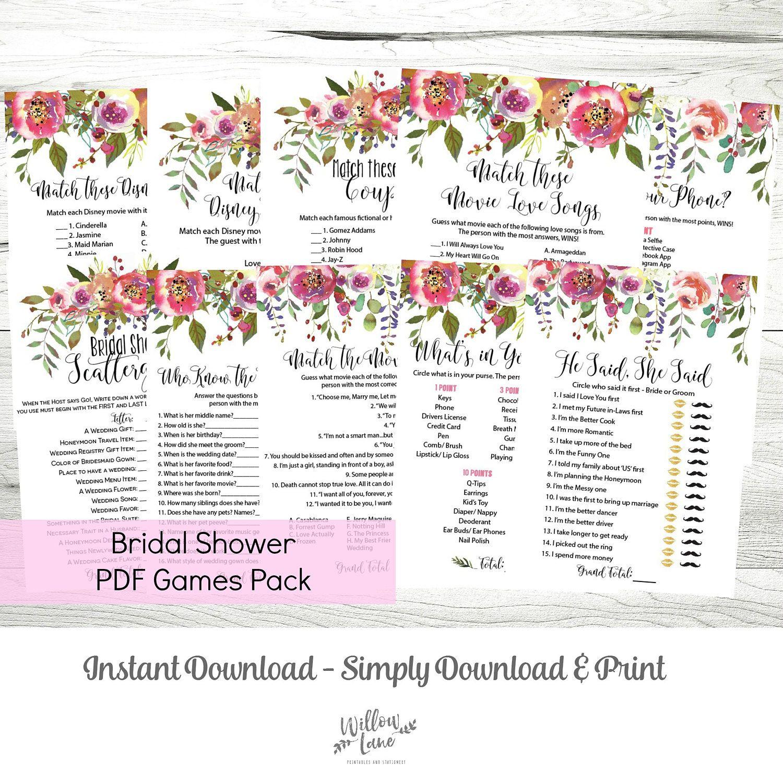 Bridal Shower Games MEGA Pack of 10 Printable PDF Games