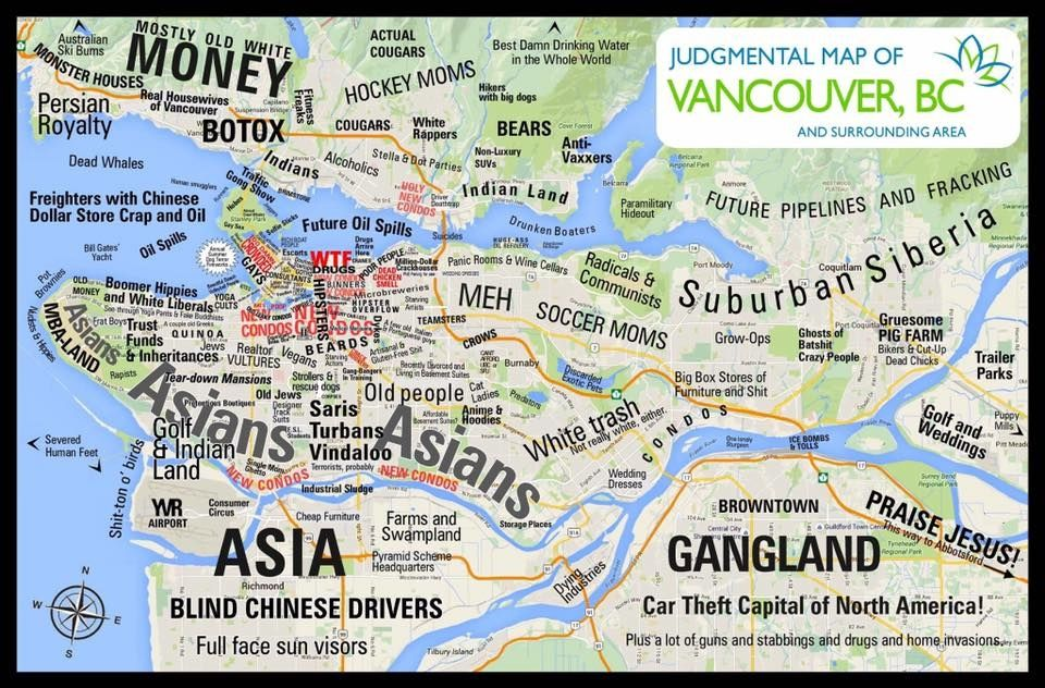Judgemental map of Vancouver | Maps | Chicago map, Vancouver, Map