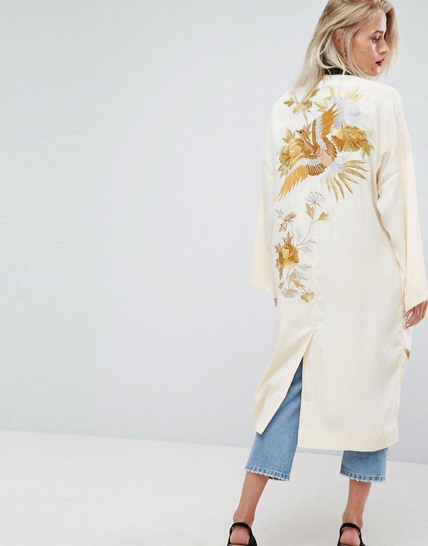 Asos Hochwertige Duster Jacke Mit Kimono Armeln Vogelstickerei Und Kontrastierendem Kragen Weiss Jetzt Bestellen Modestil Stickerei Mode Kleidung Entwerfen
