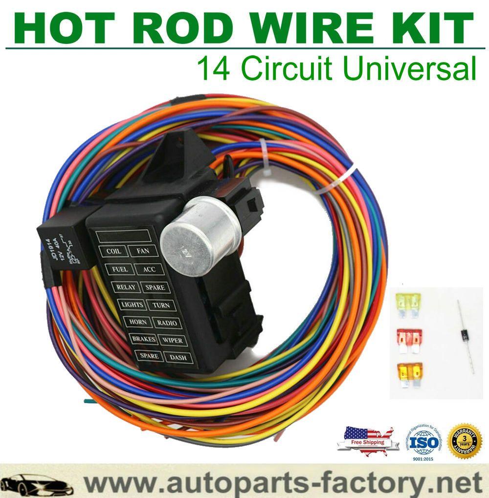 14 Circuit Hot Rod Universal Wiring Harness Muscle Car Street Rod
