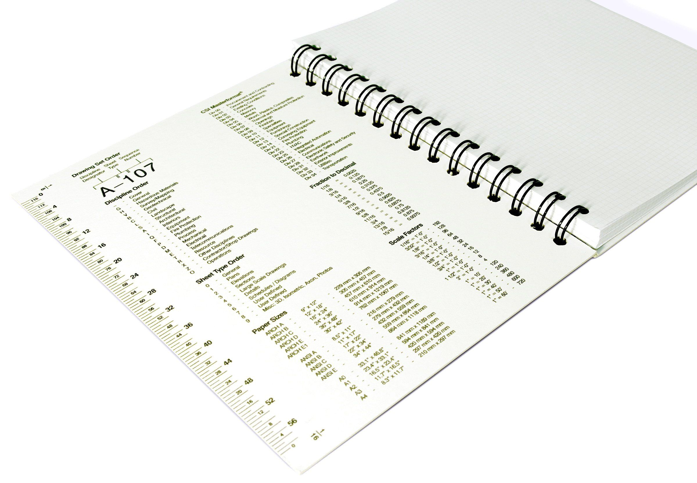 amazon com archnotes architect s reference notebook 1 8 grid