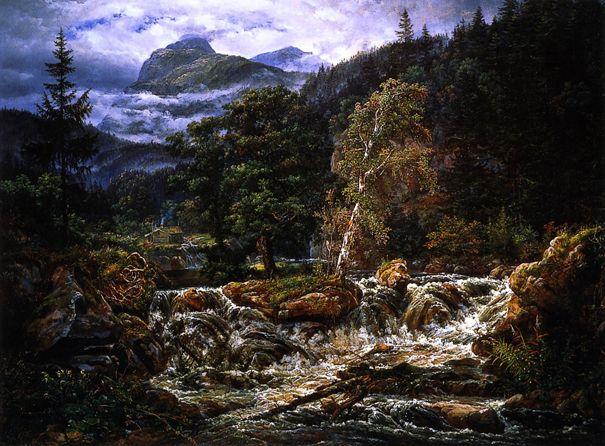 Norwegian Mountain Landscape with Waterfall: 1821