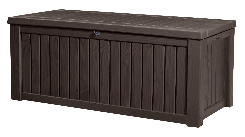 Keter Rockwood Deck Box 150 Gallon Outdoor Storage Boxes Patio