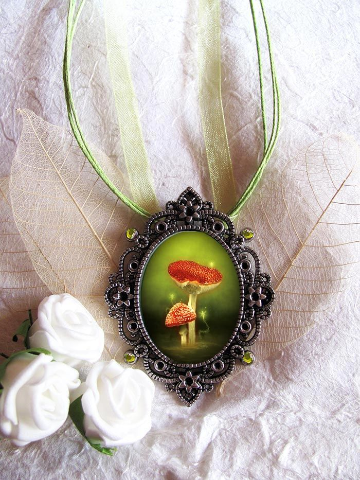 Enchanted mushrooms fairy pendant fairy art jewelry enchanted enchanted mushrooms fairy pendant fairy art jewelry aloadofball