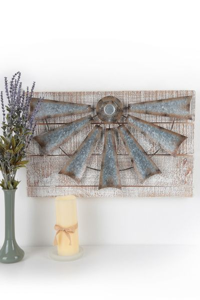 Rustic galvanized tin windmill wall decor wood and whitewashed  inches house living room  bathroom pinterest also rh in