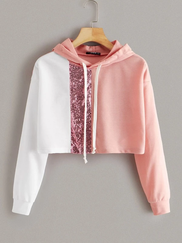 Fashion Women Blings Sequins Color Block O-Neck Patchwork Sweatshirt Pullover