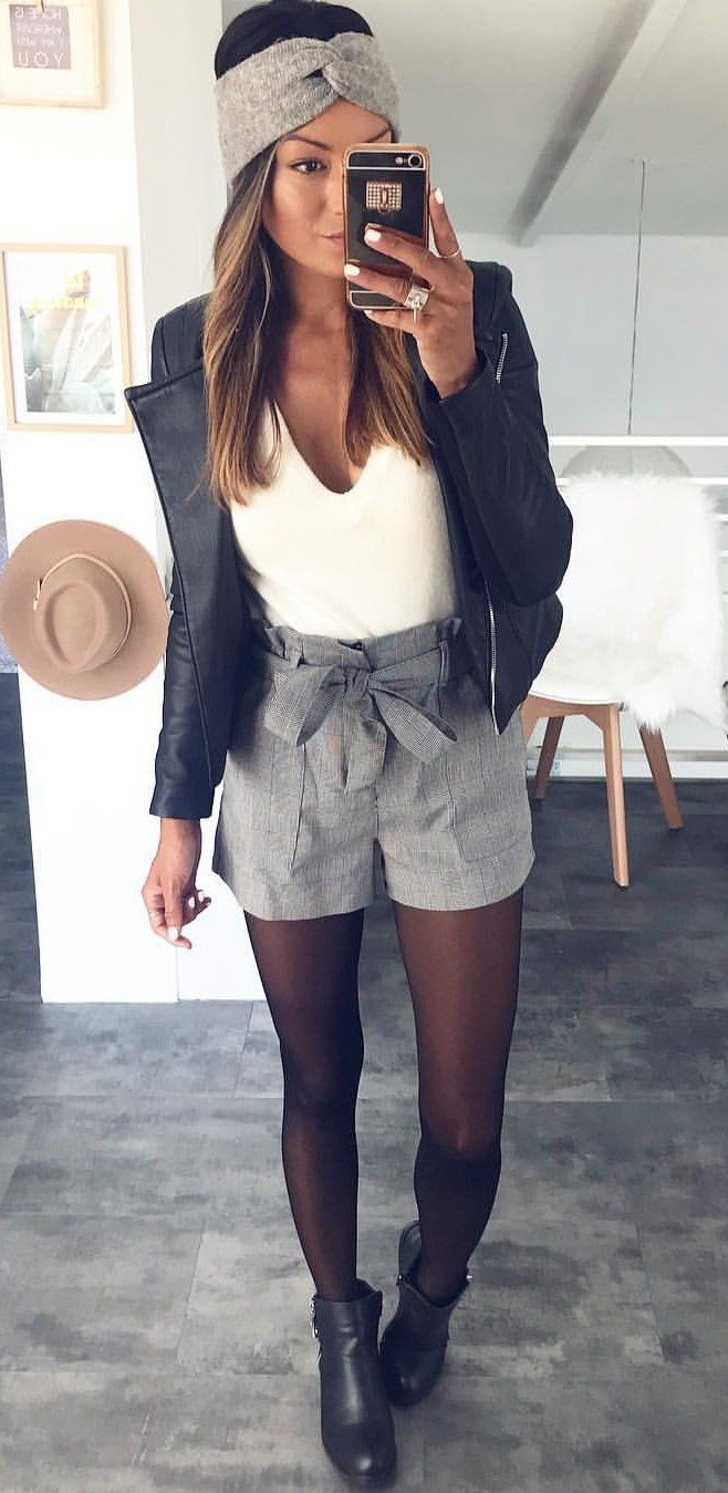 High waist shorts + bow, headband, lightweight top.