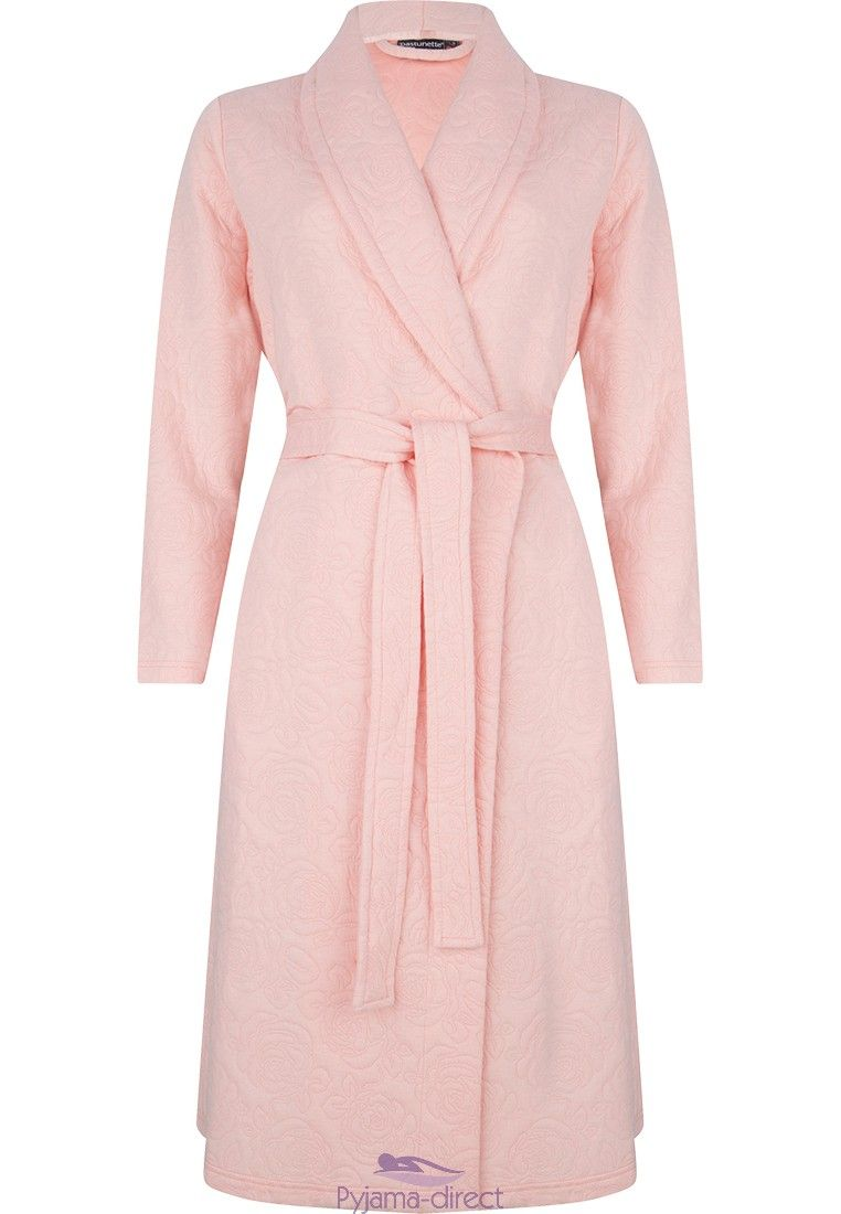 Pastunette Deluxe ladies salmon pink morninggown  soft rose pattern ... f4c52aee4