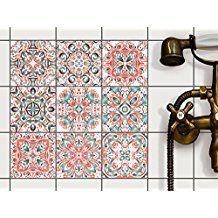 PVC Autocollant Carreau de Ciment | Mosaique Salle de Bain ...