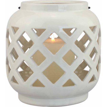 Superb Better Homes And Gardens Small Cream Ceramic Lantern   Walmart.com