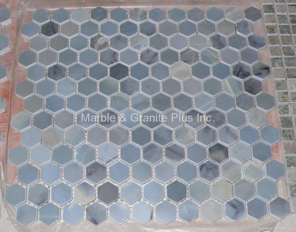 Blue Moonstone Hex Pattern Mosaic Tile (China Manufacturer ...